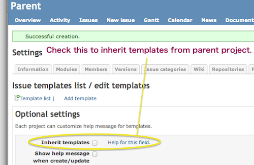 To inherit templates, please check  option  in project settings tab.