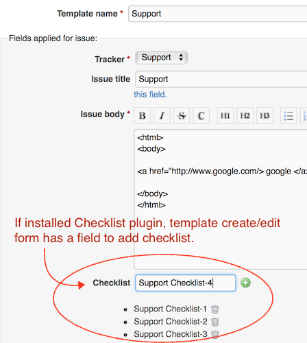 Template edit screen with checklist plugin.