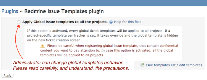 Plugin setting for global issue template