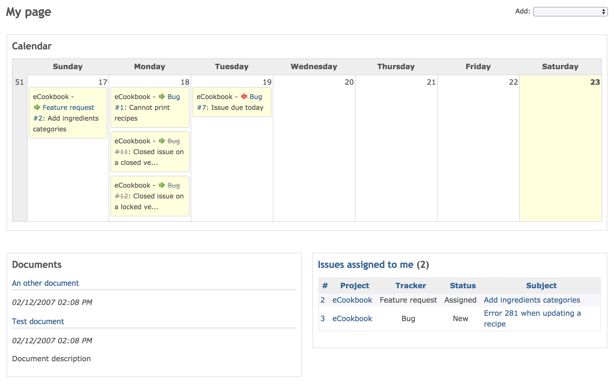Screenshot of My page (Redmine 3.4.0)