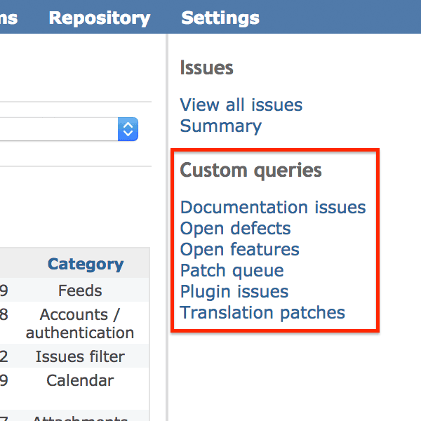 Sidebar; Custom queries (Redmine 3.4)