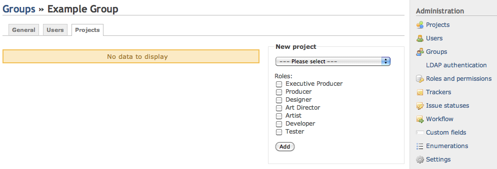 Screenshot of Redmine New Group to Project